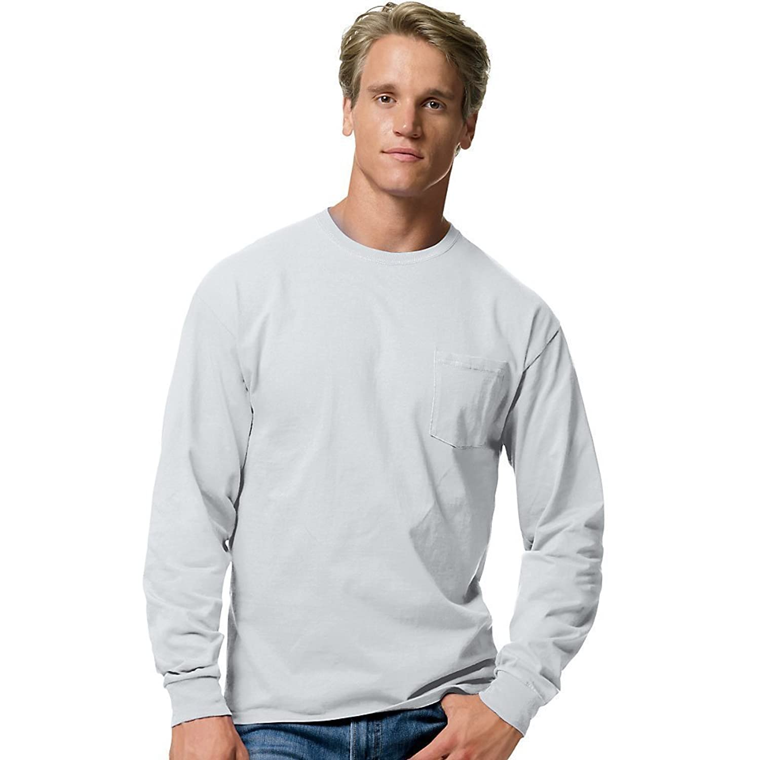 Hanes - Tagless Long Sleeve T-Shirt with a Pocket - 5596 | Amazon.com
