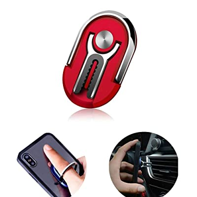 FW ZONE Phone Ring Holder Multipurpose Smartphone Bracket Car Air Vent Holder Universal 360 Degree Rotation Ring Grip Compatible with iPhone Sumsung (Red)