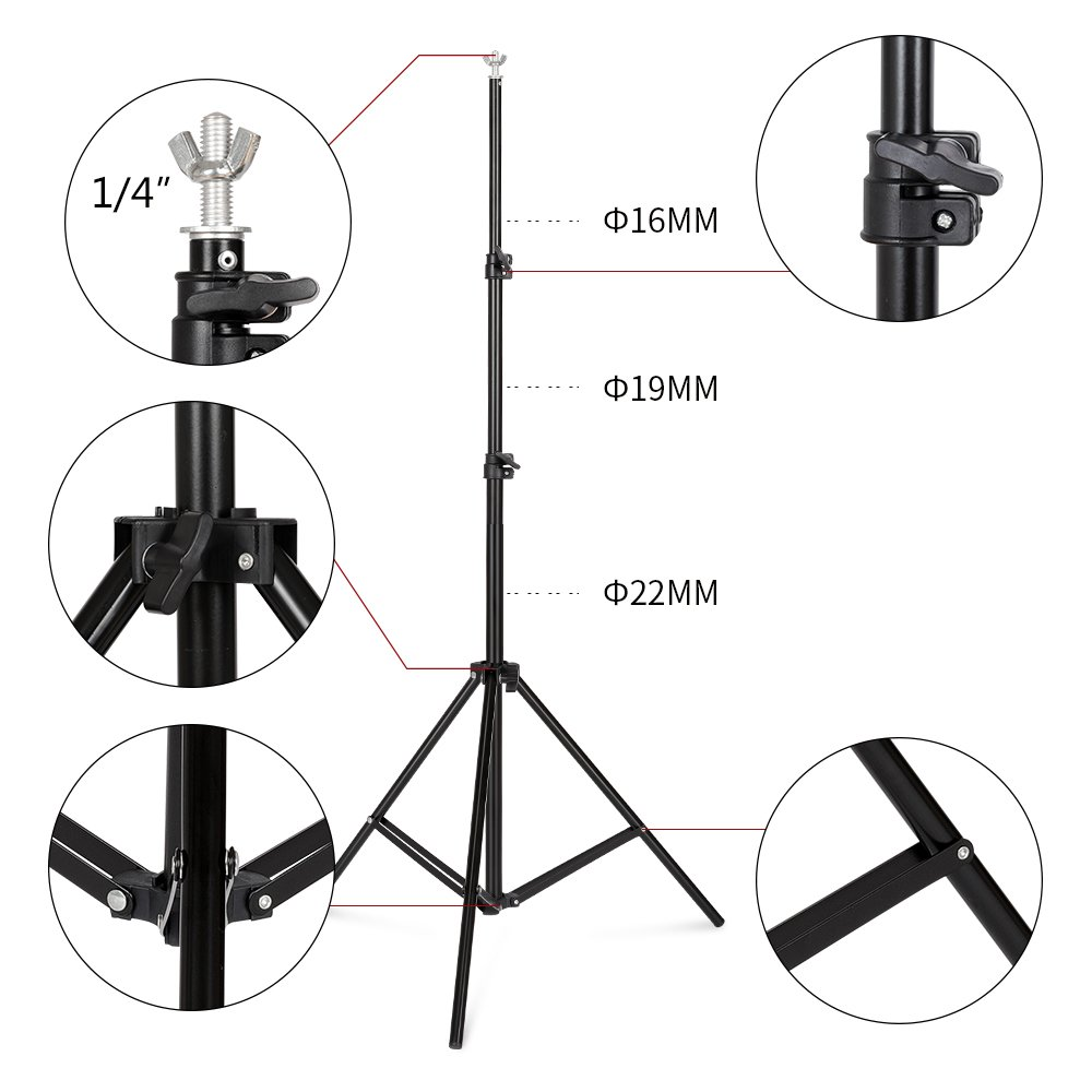 SH Background Stand, 6.5 x 10FT Heavy Duty Background Stand, 2x3M Backdrop Support System Kit with Carry Bag for Photography Photo Video Studio,Photography Studio by SH (Image #4)