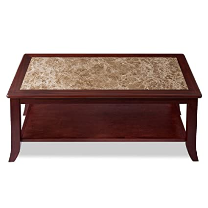 "1217ca83c0d781 Olee Sleep 18"" Crema Cappuccino Natural Marble Top Solid Wood Edge Coffee  Table/ End"