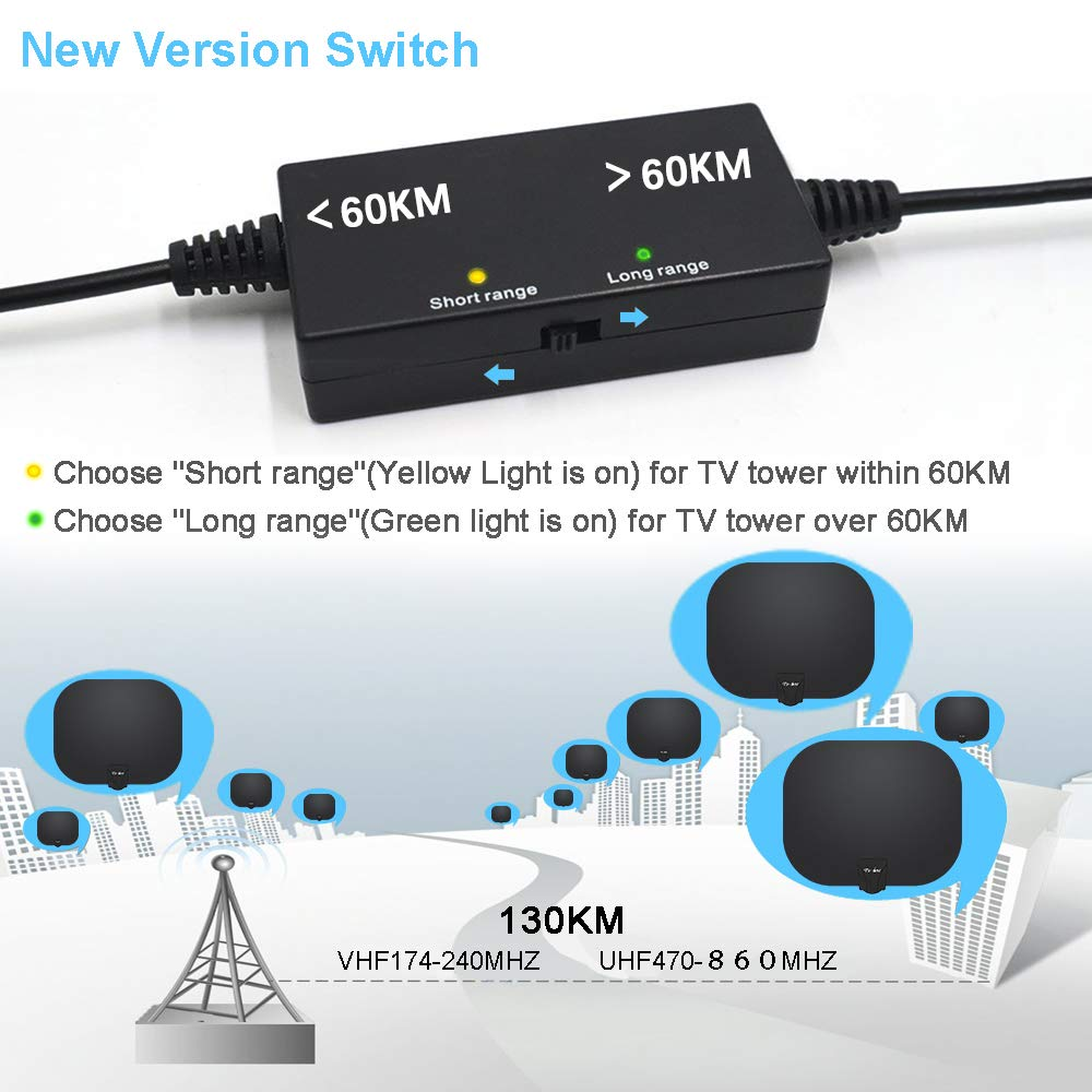 Antena de TV Digital para Casa receptor de señal amplificador TV 120 km 1080 P