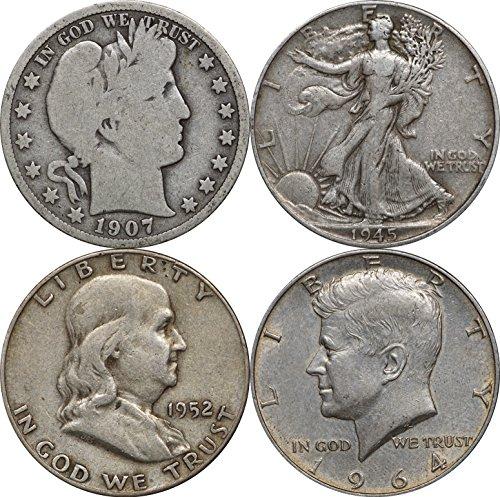 1900-1964 Half Dollar Type Set: Barber, Walking, Franklin, Kennedy. Random Yr Circulated