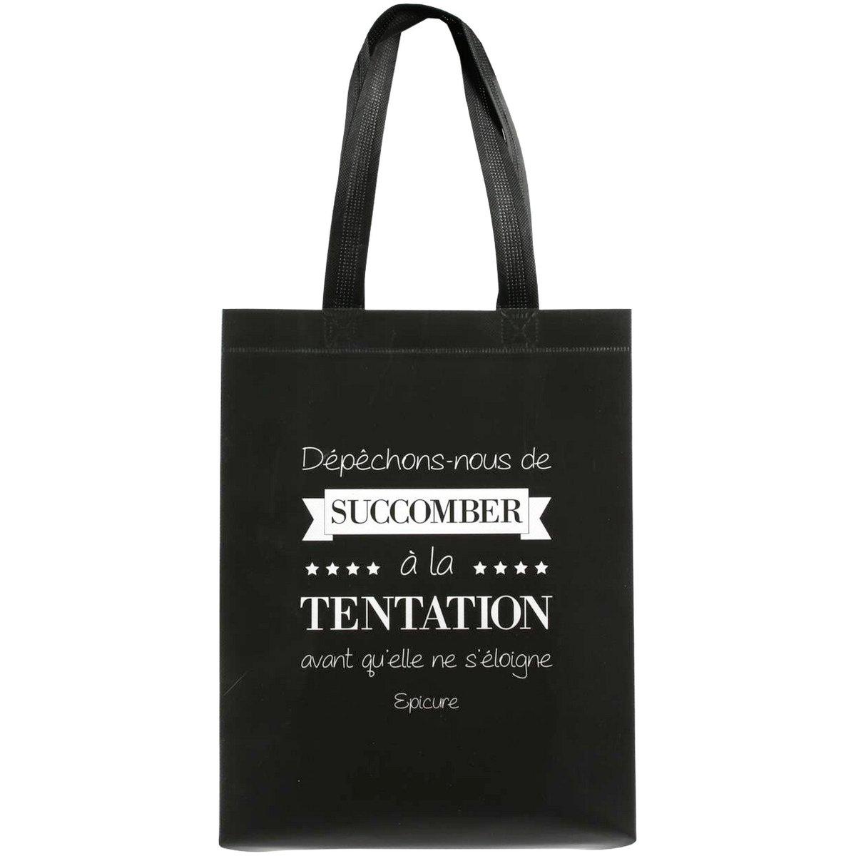 Sac Pour Course Shopping Cabas Citation Succomber A La Tentation Noir Promobo