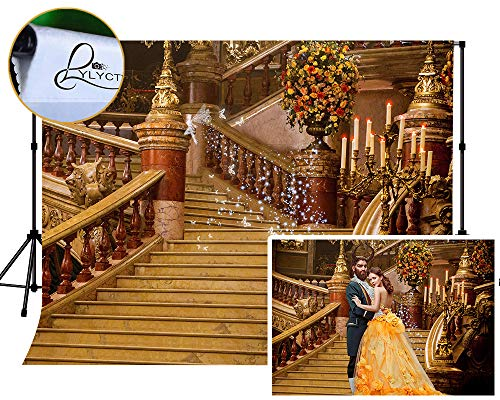 LYLYCTY 7x5ft Beauty and The Beast Backgdrop for Photography European Vintage Staircase Background for Movie Theme Birthday Party Photo Booth Props MLYZY54 from LYLYCTY
