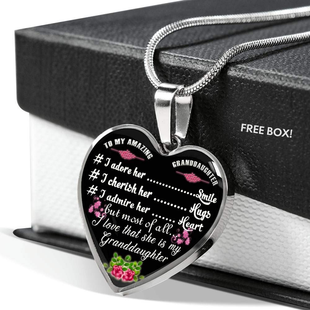 Perfect Happy Gift for Teenagers On Birthday Special Xmas Gifts for Kids to My Amazing Granddaughter Heart Pendant Necklace New Gifts for Little Girl from Grandpa Grandma