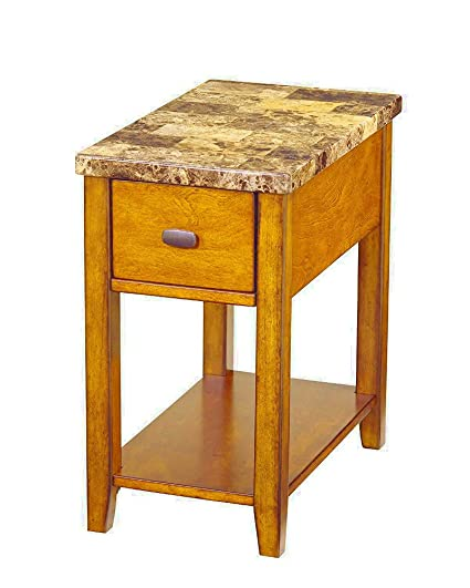 Amazon Com Faux Marble Side Table With Drawer And Shelf Removable