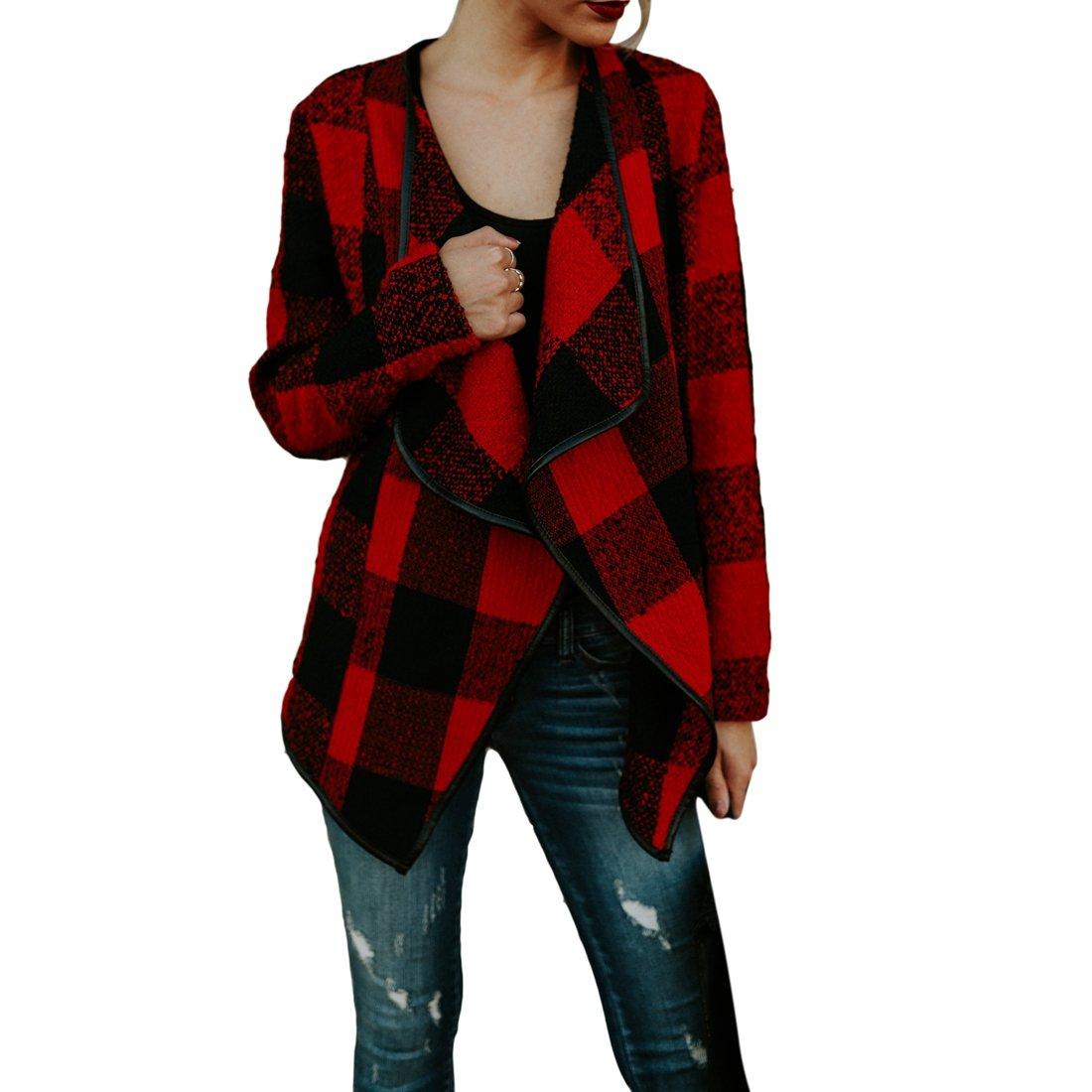 Shinekoo Women Cardigan Jacket Checked Plaid Open Front Coat Outwear