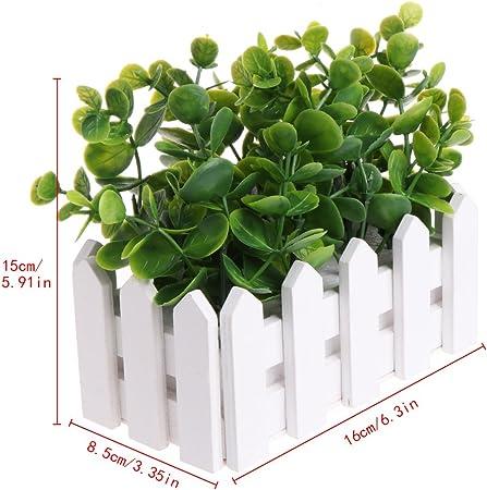 Artificiel Vert Feuilles d/'eucalyptus plante en pot Faux Pot de Fleur Extérieur Jardin Deco