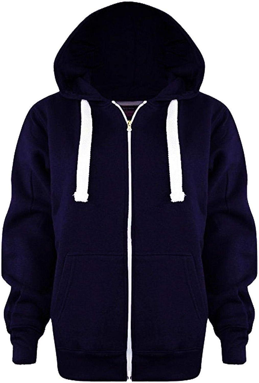 Kids Plain Fleece Hoodie Zip Up Jacket Girls Boys Long Sleeve Hooded Sweatshirt Top Junior Hoody Jacket UK Size 7-13 Years