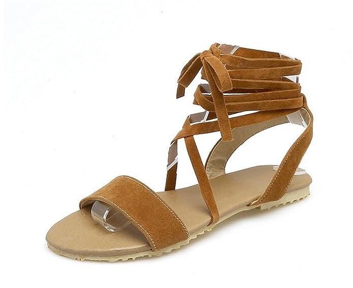 Sandales pour Dames/Bretelles Croisées/Chaussures Plates, Confort/Anti-Dérapant, Party/Daily, 34-43, Yellow, 42