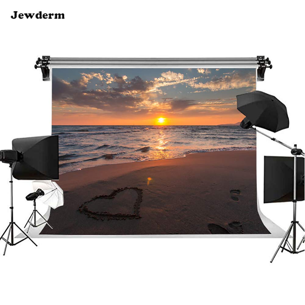 Jewderm 10 x 6.5フィート ハート型サンセット 光る写真背景 夏のビーチ 海 美しい雲 写真背景 家族 ホームパーティー シャワー スタジオ小道具   B07P71M1X7