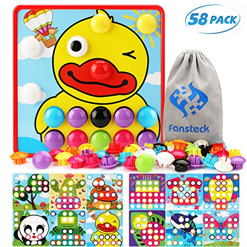 Fansteck Button Art Educational Toys - Color Matching Toddler Arts and Crafts for 3 years old Boys and Girls - 12 Pictures and 46 Buttons with a Storage Bag (Animals and Plants Theme)