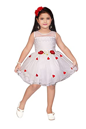a308ab54b Apna Baby Party Frock Dress for Kids Girls Multicolour (White