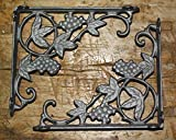 Starworld- 2 Pcs Heavy Cast Iron Antique Style GRAPES & VINE Brackets - Garden Braces Shelf Bracket - (7.75'' x 8.75 )Rust brown finish