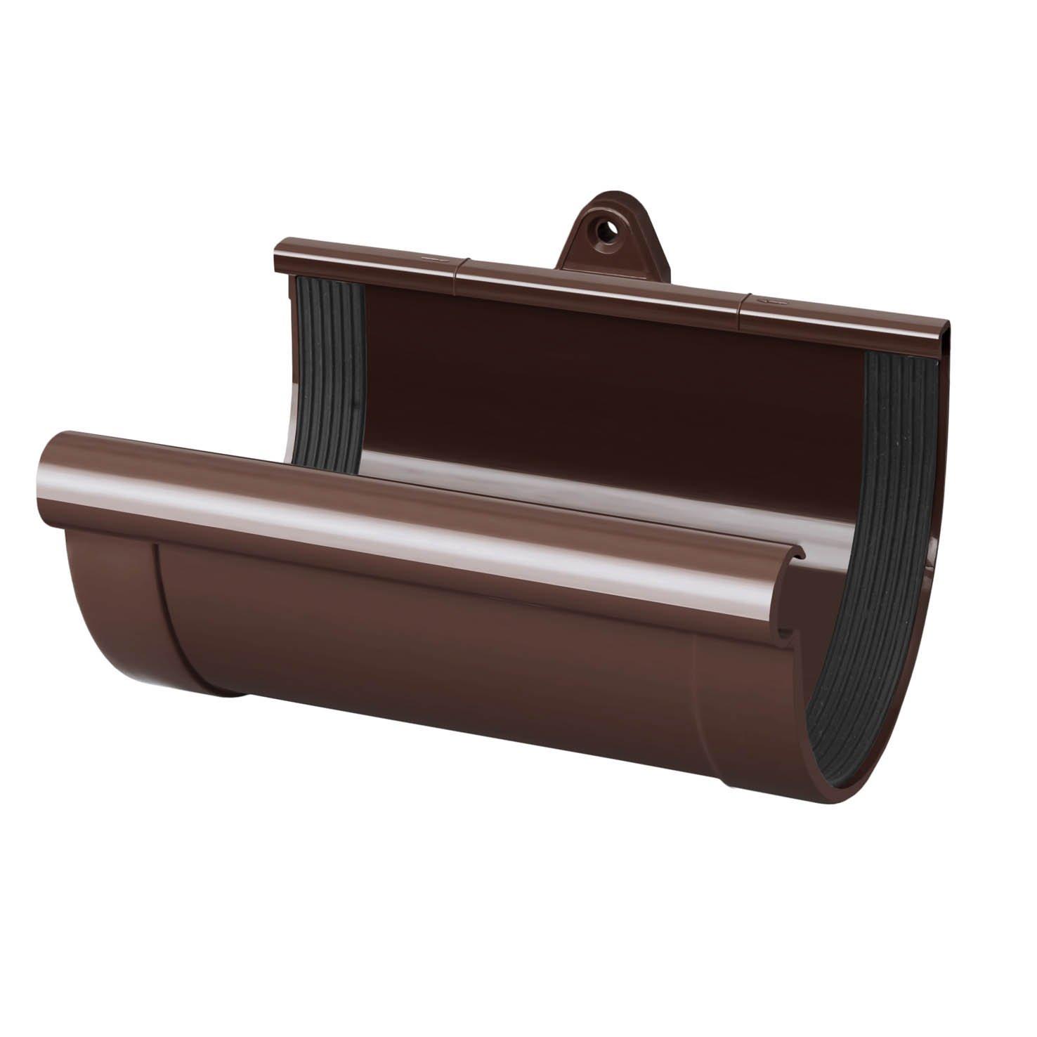 PVC RainWay Regenrinnensystem Regenwasser Regenrinne RINNENKAPPE LINKS Farbe:Braun Durchmesser:90 mm