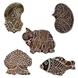 Bunch of 5 Wooden Textile Handmade Elephant Paisley Fish Banyan Tree Printing Block Clay Potter Craft Scrapbook Stamps