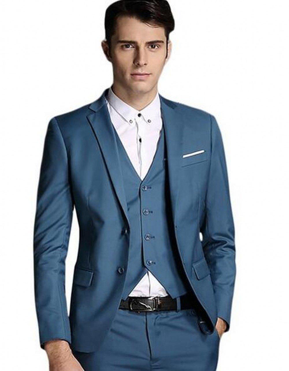 Love Dress Men's Modern Fit 3-Piece Suit Blazer Jacket Tux Vest & Trousers Blue 2 S
