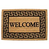 J & M Home Fashions Greek Key Welcome Vinyl Back Coco Doormat, 19.5-Inch by 29.5-Inch offers