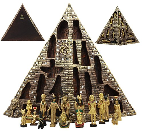(Ebros Egyptian Monument Pyramid Display Statue Featuring 16 Miniature Gods Anubis Osiris Maat Isis Bastet Sekhmet Obelilsk Sphinx and More For Educational And Decorative Centerpiece)