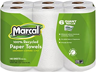 product image for Marcal 6181CT Paper Towels, 2-Ply, 140 Sheets/Roll, 24 Rolls/CT, White