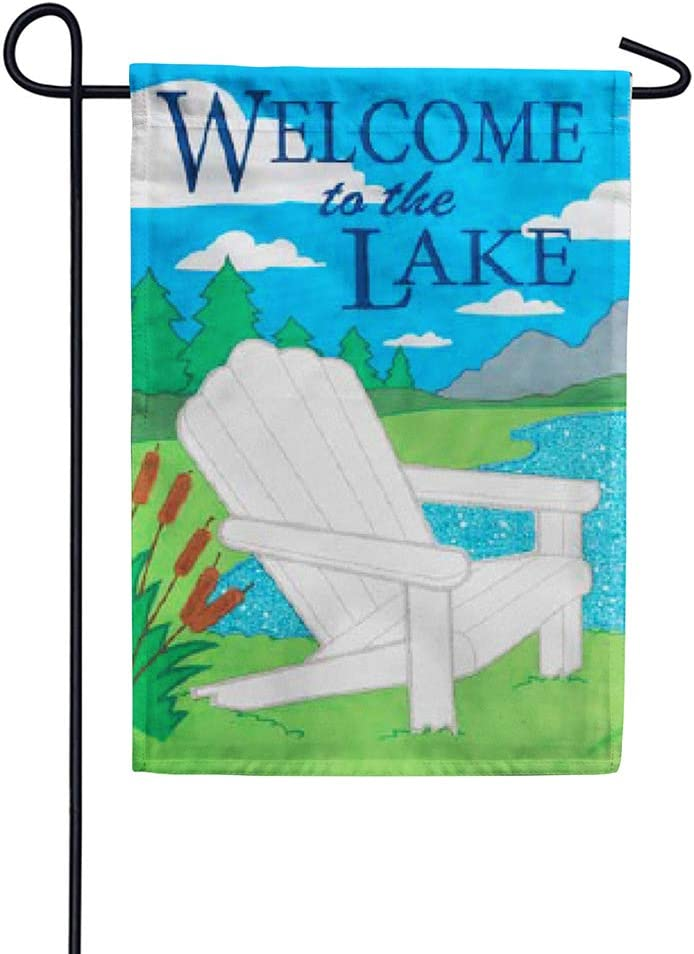 Welcome to the Lake - Garden Size, Emboidered Applique Style, Double Sided Decorative Flag - Approx. 12 Inch X 18 Inch Copyright, Licensed and Trademarked by Custom Decor Inc.