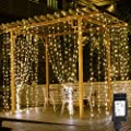 LE LED Curtain Lights, 9.8x9.8ft, 306 LED, 8 Modes, Plug in Twinkle Lights, Warm White, Indoor Outdoor Decorative Wall Window String Lights for Bedroom, Party, Wedding Backdrop, Patio Décor and More