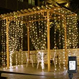 modern bedroom ideas LE 10ft 306 LED Curtain Lights, 8 Modes Plug in Fairy Twinkle lights, Warm White, Indoor Outdoor Decorative Wall Window String Lights for Bedroom, Party, Wedding Backdrop, Dorm, Patio Décor and More