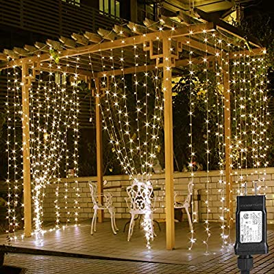 LE 306 LED Curtain Lights 9.8 x 9.8 ft Fairy String Lights for Bedroom Wall Wedding Backdrop Patio Party Garden, Warm White, 8 Modes, Plug in Indoor Outdoor Decorative Window Twinkle Christmas Lights - 9.84 ft * 9.84 ft 306 LED Icicle Lights: The soft white waterfall fairy lights come with 18 light strands and each string contains 17 pcs LED lights. 9.84 ft (118 inch) in width and height make it is wide and long enough to cover most of standard windows, walls and even perfect to wrap it around a canopy bed or pergola in the backyard. 7 Changing Modes and 1 Steady On Mode: Press the button on the transformer to choose from the 8 different light effects: Combination, In Waves, Sequential, Slo-glo, Chasing/Flash, Slow Fade, Twinkle/Flash, and Stay On. Safe and Heat Free: Come with an ETL Certified transformer and operated with low voltage (30 V DC, 120 mA). It is safe to touch and will not overheat for a long time use. Note: Use only the provided adapter, or one with the same voltage from a reputable manufacturer - patio, outdoor-lights, outdoor-decor - 61hps7xNiFL. SS400  -
