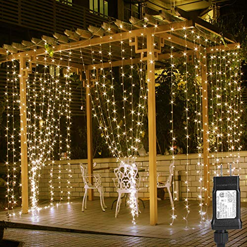 LE 10ft 306 LED Curtain Lights, 8 Modes Plug in Fairy Twinkle lights, Warm White, Indoor Outdoor Decorative Wall Window String Lights for Bedroom, Party, Wedding Backdrop, Dorm, Patio Décor and More]()