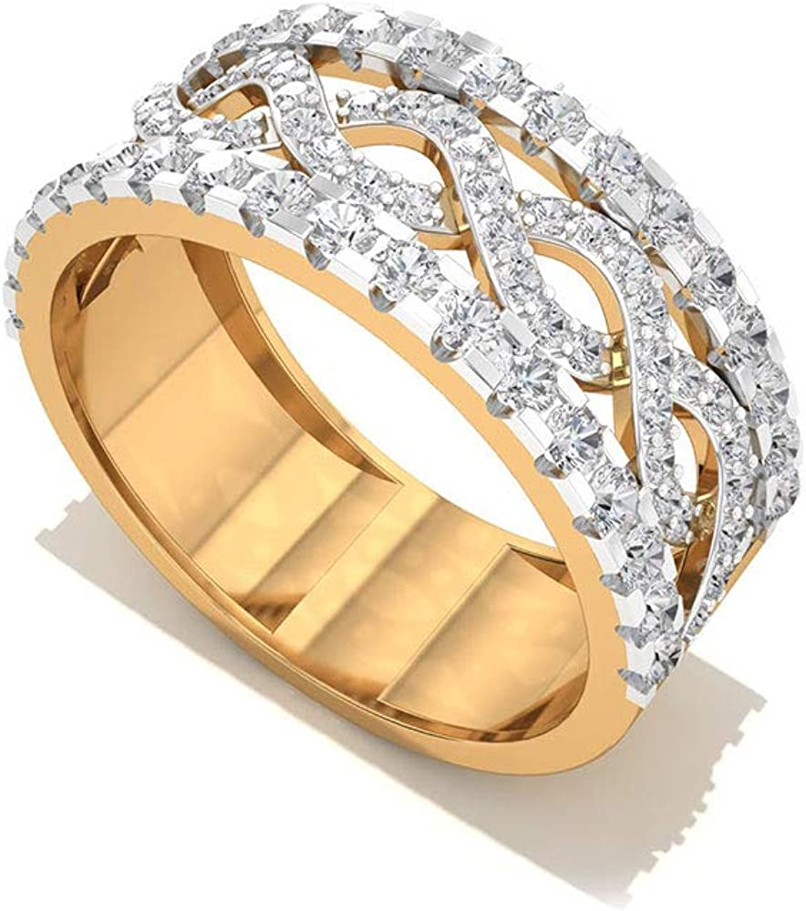 It is an image of Amazon.com: 45.745 Carat Wide IGI Certified Diamond Wedding Bands
