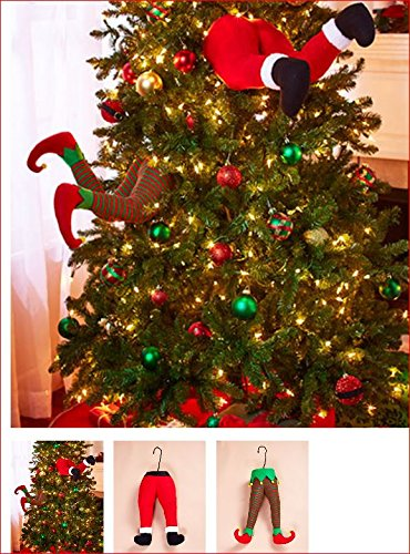 SANTA AND ELF STUCK IN CHRISTMAS TREE STUFFED PANTS DECOR for $<!--$31.92-->