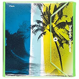 Mead Trapper Keeper Round Ring Binder, 1.5 Inch, Fashion Wave & Palm Trees, Blue/Green (73425)