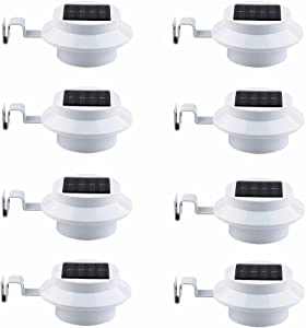 YINGHAO Solar Gutter Lights Outdoor Solar Wall Light Solar Security Light Outdoor Garden Decorative for Fence Yard Roof Wall Eave, Dust to Dawn, Round Shape, 8 Pack, White (Batteries are Included)