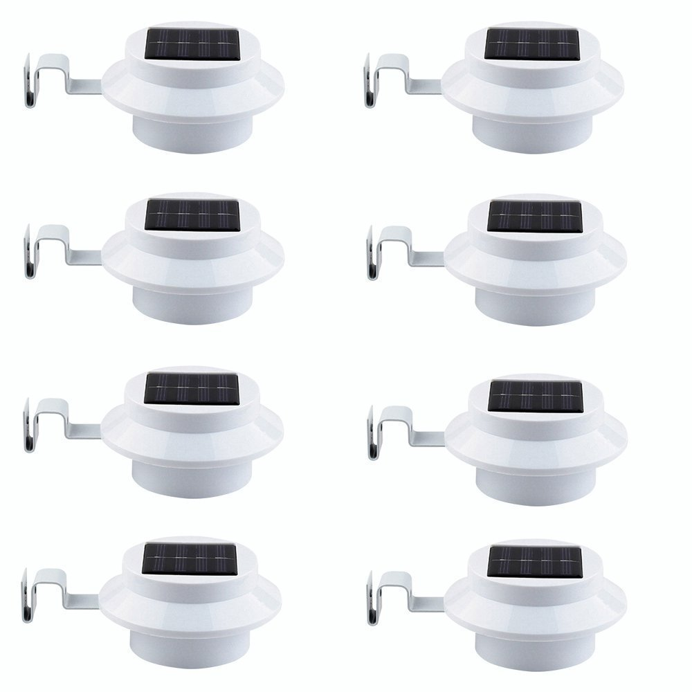 8 Pack Deal - Falove Outdoor Solar Gutter LED Lights - White Sun Power Smart Solar Gutter Night Utility Security Light