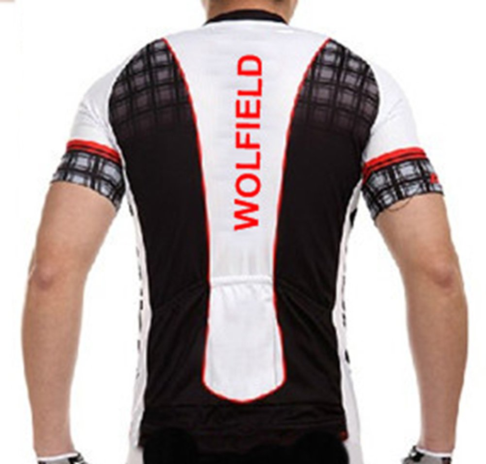 WOSAWE Mens Short Sleeve Plaid Patchwork Outdoor Cycling Tops Jersey Shirt