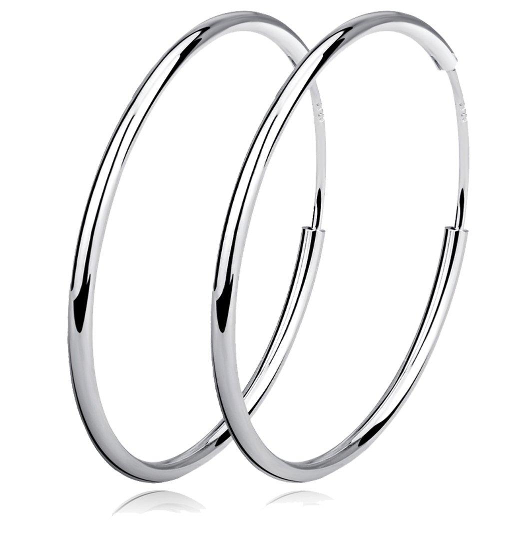 YFN 925 Sterling Silver Polished Circle Endless Earrings Hoops Diameter 20,30,40,50,60mm