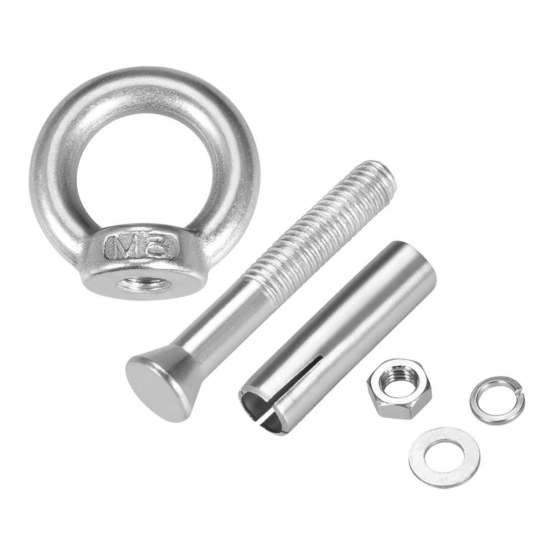 M8 x 60 Screw nut with Expansion Eye Bolt with Ring 304 Stainless Steel Anchor Rough Bolts 1 Piece