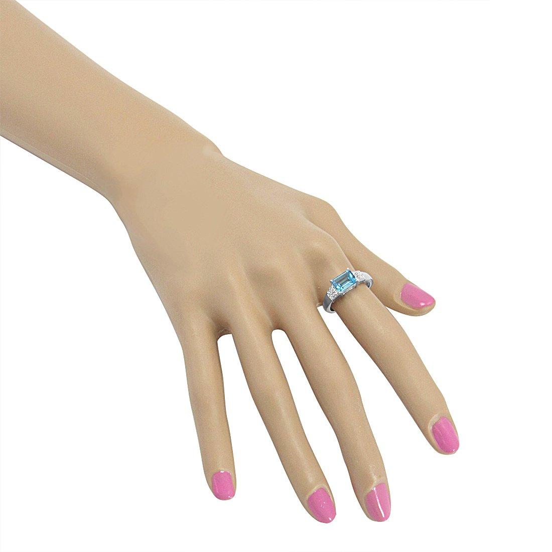 2ct tgw Sizes 5-8 Sterling Silver Emerald Cut Swiss Blue Topaz and Diamond Ring