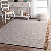 Flatweave Solid Tassel Grey Area Rugs, 3 Feet by 5 Feet (3' x 5')
