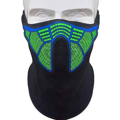 Mallalah Máscara de música LED, máscara reactiva de Sonido para la música en Festivales y Fiestas (D): Deportes y aire libre