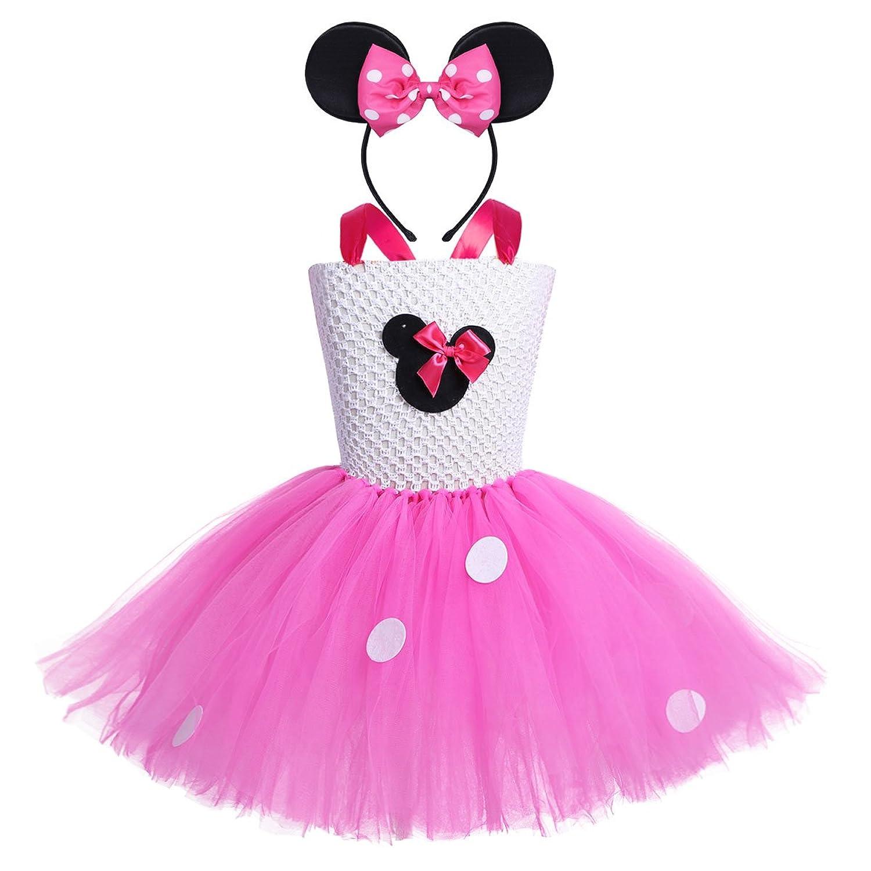 f1c899349b2bd IEFIEL Cartoon Costume Cosplay Filles Princesse Tutu Robe A Pois Avec  Bandeau Robe de Cérémonie Déguisement