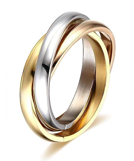 seleziona per il meglio vendita calda moda firmata Vnox Anello in acciaio inossidabile in tre colori combinati: oro, oro rosa,  argento, motivo: anello nuziale Trinity a tre fasce, da donna