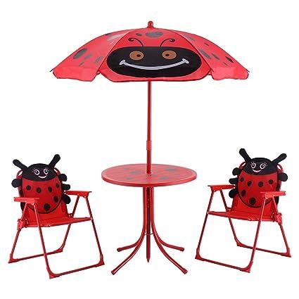 Amazon.com: Kids Patio Mesa Plegable y sillas Juego Beetle ...
