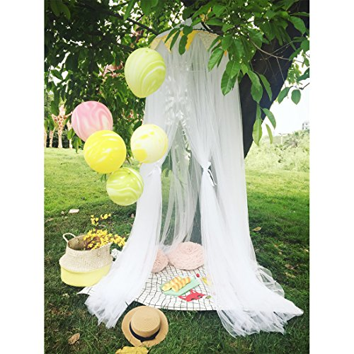 Didihou Mosquito Net Bed Canopy Round Lace Dome Netting Hanging Curtains Princess Play Tent Bedding for Kids Indoor Playing Reading Games House (Yarn White)