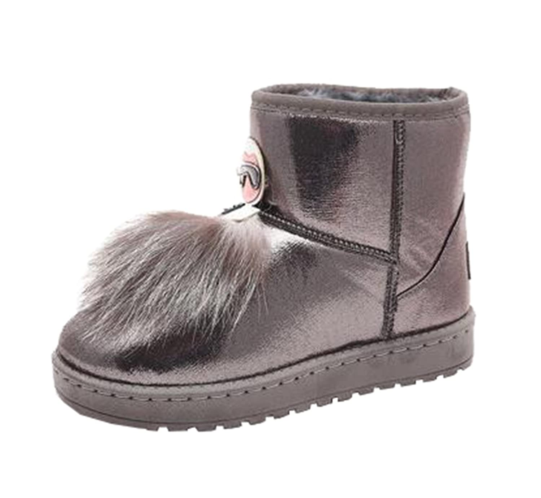 Mogu Women's Winter Short Snow Boots Faux Fox Wool Flat Warm Ankle Boots