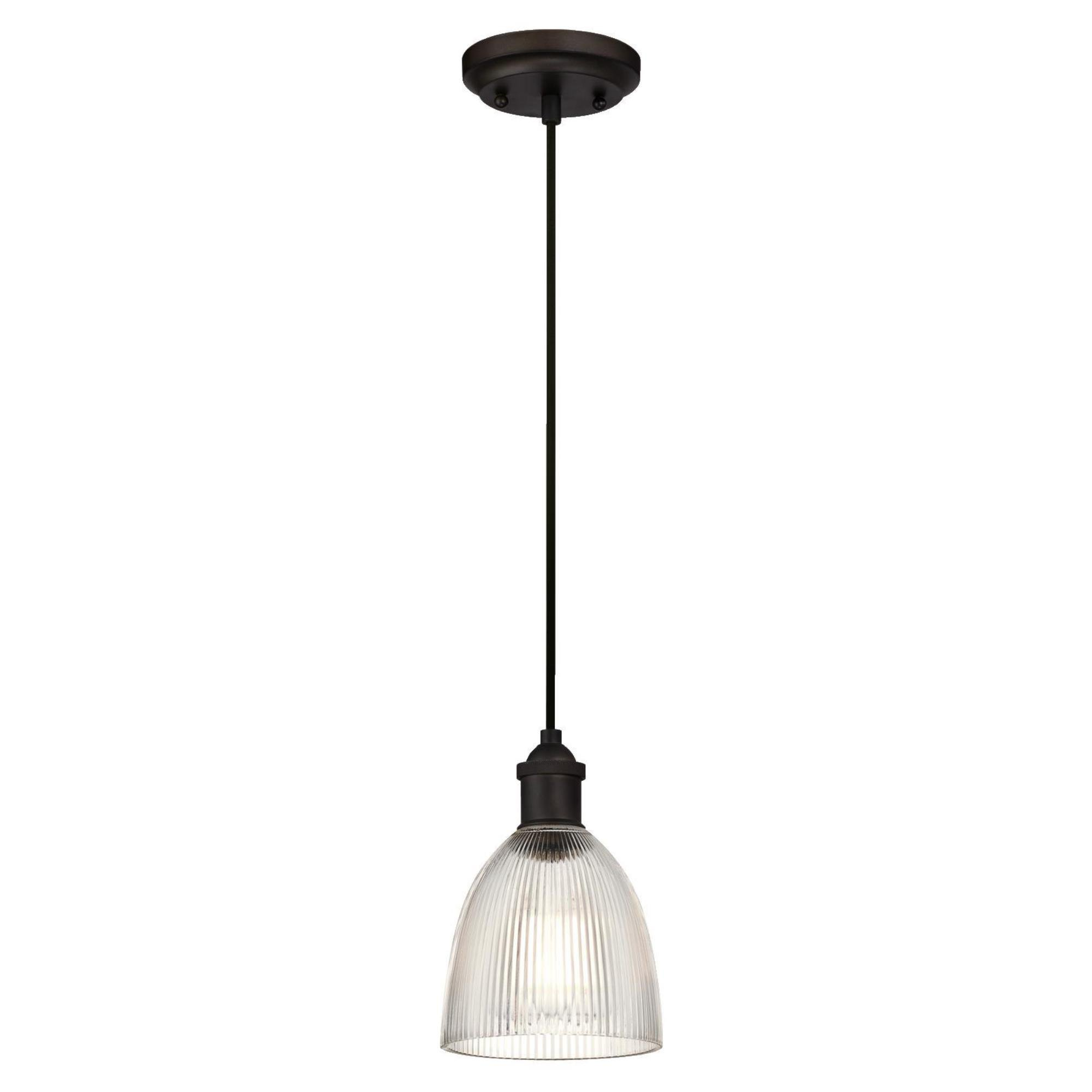 Westinghouse 6338500 One-Light Indoor Mini Pendant, Oil Rubbed Bronze Finish with Clear Ribbed Glass