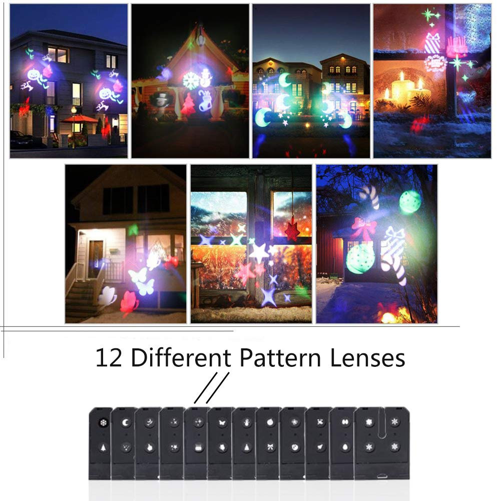 U`King Christmas Light Projector with 12 Switchable Patterns RGBW LED Landscape Projection Waterproof Outdoor Decoration for Holiday Halloween Wedding Birthday Yard Garden Party