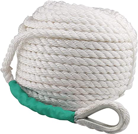 "Heavy Duty Twisted 3 Strand Nylon Anchor Rope with Thimble 3//4/"" x 200/' White"