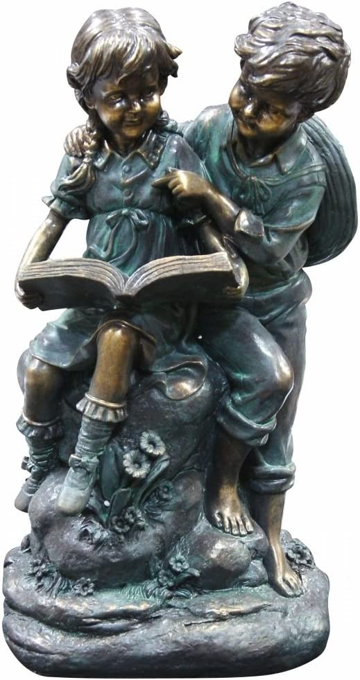 Alpine Girl and Boy Playing on Teeter Totter Statue 14 Inch Tall