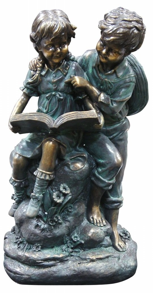 Alpine Corporation Girl and Boy Reading Together Statue - Outdoor Decor for Garden, Patio, Deck, Porch - Yard Art Decoration